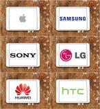 Manzana mundial de las marcas del smartphone y de la tecnología, Samsung, Sony, lg, Huawei, htc stock de ilustración