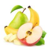 Manzana, plátano y pera aislados fotos de archivo