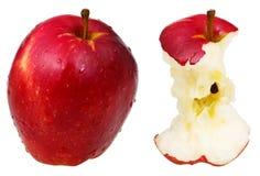 Manzana red delicious mordida y entera Fotos de archivo
