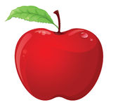 Manzana roja aislada en blanco Stock de ilustración