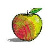 Manzana roja con el lado amarillo Ejemplo dibujado mano del estilo del bosquejo colorido Fotos de archivo