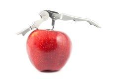 Manzana roja con el openner del vino Fotos de archivo libres de regalías