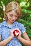 Manzana roja con forma del corazón fotografía de archivo libre de regalías