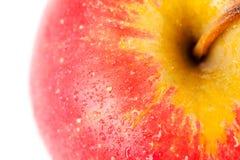 Manzana roja con gotas del agua Foto de archivo