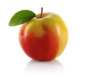 Manzana roja con la hoja Fotos de archivo libres de regalías