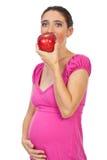 Manzana roja de la consumición embarazada Fotos de archivo