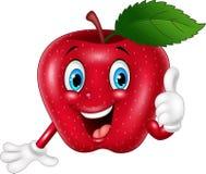 Manzana roja de la historieta que da los pulgares para arriba Imagenes de archivo