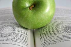 Manzana roja en el libro Fotos de archivo libres de regalías