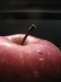 Manzana roja en el negro - macro imagenes de archivo
