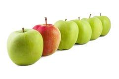 Manzana roja en fila de manzanas verdes Imagen de archivo