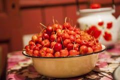 Manzana roja en la tabla en Rusia Imagen de archivo