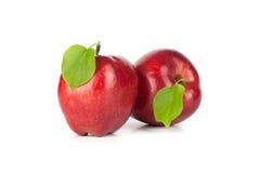 Manzana roja madura con una hoja Foto de archivo