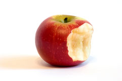 Manzana roja mordida Fotos de archivo libres de regalías