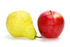 Manzana roja y pera de color verde amarillo Fotografía de archivo libre de regalías