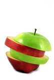 Manzana roja y verde rebanada fotografía de archivo libre de regalías