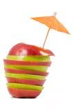 Manzana roja y verde rebanada Imágenes de archivo libres de regalías