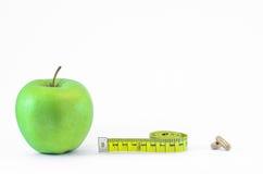 Manzana verde como dieta sana Imagenes de archivo