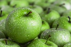 Manzana verde con gotas de rocío Foto de archivo libre de regalías