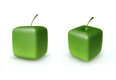 Manzana verde del cubo Imagen de archivo libre de regalías
