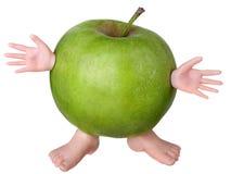 Manzana verde divertida Fotografía de archivo libre de regalías