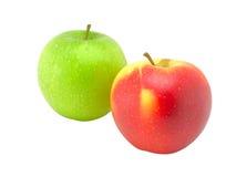 Manzana verde y rojo una manzana Fotos de archivo libres de regalías