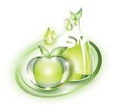 Manzana y jugo verdes Imagen de archivo
