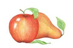 Manzana y pera rojas en un fondo blanco fotografía de archivo