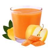 Manzana y zanahoria aisladas del limón del jugo de ACE en el fondo blanco Fotografía de archivo
