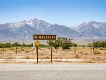 Manzanar Detention Camp signpost, Manzanar National Historic Sit. E, Inyo County, California, United stock photography