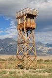 Manzanar guard tower. Manzanar war relocation center guard tower replica royalty free stock photos