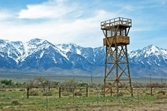 Manzanar watch tower. Replica guard tower at the Manzanar War Relocation Camp in the Owens Valley, California, with the Sierra Nevada mountains in the background Royalty Free Stock Photos