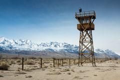 Manzanar Watch Tower. A watch tower at the Manzanar relocation camp in California where thousands of Japanese-Americans were held in detention during World War royalty free stock images
