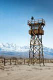 Manzanar Watch Tower. A watch tower at the Manzanar relocation camp in California where thousands of Japanese-Americans were held in detention during World War royalty free stock photos