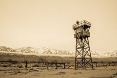 Manzanar Watchtower in Sepia Stock Images