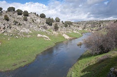 Manzanares River. General view of the river Manzanares, where it passes Colmenar Viejo, Madrid Province, Spain. This river has had a great historical importance Stock Photography