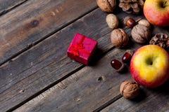 Manzanas, abeto-conos, regalo y nueces Foto de archivo