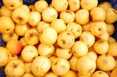 Manzanas amarillas en cajas Fotos de archivo libres de regalías