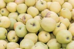 Manzanas amarillas grandes en la tienda Fondo de manzanas amarillas Foto de archivo