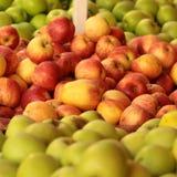 Manzanas amarillas rojas verdes frescas Fotos de archivo