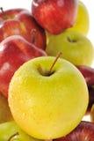 Manzanas amarillas y rojas Imagenes de archivo