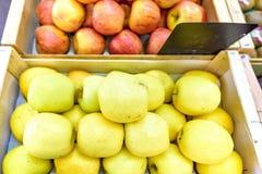 Manzanas amarillas y rojas frescas con las etiquetas engomadas en las cajas de madera para la venta Fotos de archivo libres de regalías