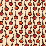 Manzanas caramelizadas del vector con diverso modelo de los desmoches Foto de archivo libre de regalías