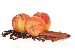 Manzanas cinamomo y clavos imágenes de archivo libres de regalías