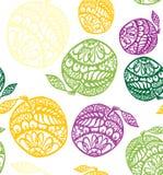 Manzanas coloridas con un modelo inconsútil del vector del ornamento rico Fotos de archivo