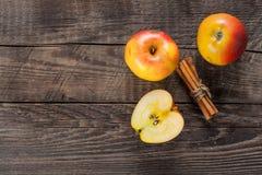 Manzanas con cinamomo Fotos de archivo libres de regalías