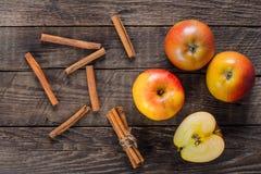 Manzanas con cinamomo Fotografía de archivo