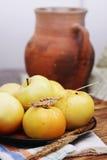 Manzanas con la jarra, aún vida, teñida Fotos de archivo libres de regalías