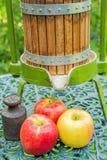 Manzanas con la prensa vieja de la fruta Foto de archivo libre de regalías