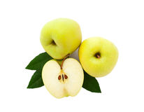 Manzanas con las hojas verdes Imagen de archivo
