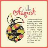Manzanas con las peras y las palabras HOLA AGOSTO Foto de archivo